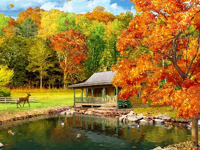 fall scenery desktop wallpaper 3d falling leaves