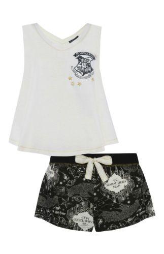 Primark-HARRY-POTTER-HOGWARTS-MARAUDERS-MAP-Ladies-Pyjamas-PJ-T-Shirt-Leggings