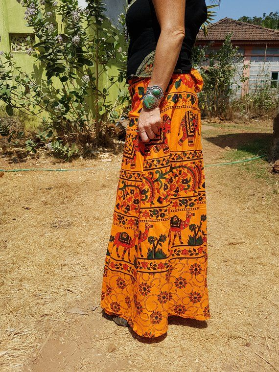 38fc7af4ec Women Multicoloured Ethnic Print Wrap-Around Skirt with Elephant ...