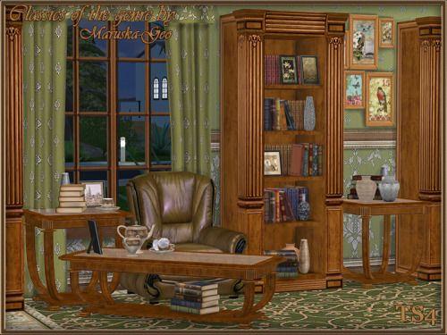 Set « Classiques du genre ».  Addition Le jeu de composition comprend: tricuspide étagère avec décor intégré, étagère deux pliante avec décor intégré, des étagères pour les livres, table basse, table fin, livres - quatre variantes, vase - trois variantes, image ...