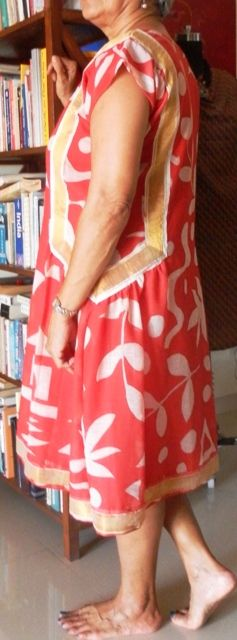 Red summer cotton dress - side view. Notice the gold border panels