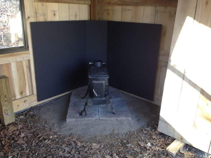 wood stove heat shield freestanding 1