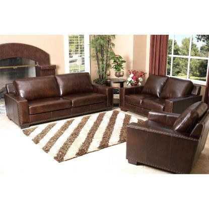 Abbyson Beverly 3 Piece Hand Rubbed Leather Sofa Set - Brown