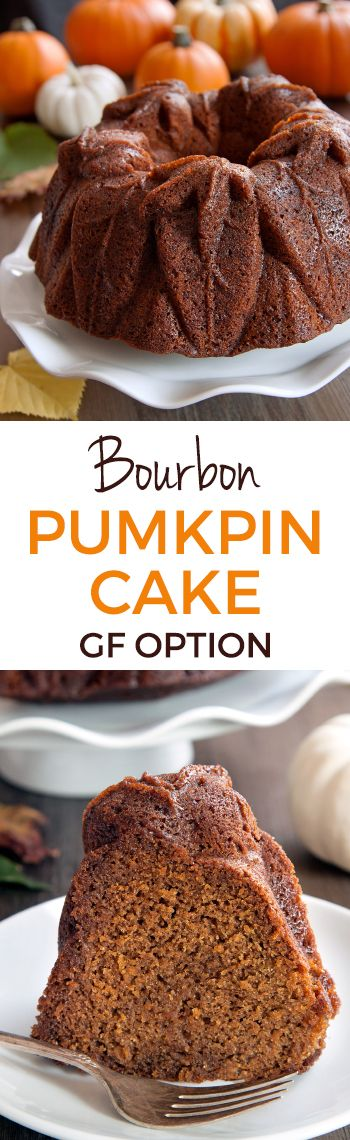 Bourbon Pumpkin Cake (gluten-free, all-purpose and whole grain flour options) made with @nordicware's new Harvest Leaves Bundt.