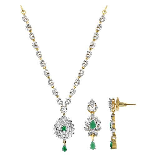 Gold Plated Teardrop Simulated Emerald and Cubic Zirconia Bollywood Indian Necklace Earrings Set #JS143