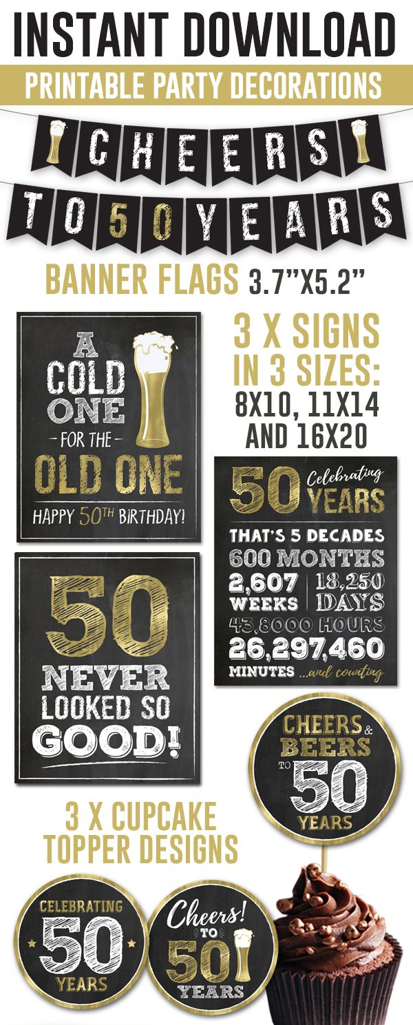 50th Birthday Party Decorations For Men Cheers To 50 Years Etsy In 2021 50th Birthday Party Decorations 50th Birthday Party 50th Birthday