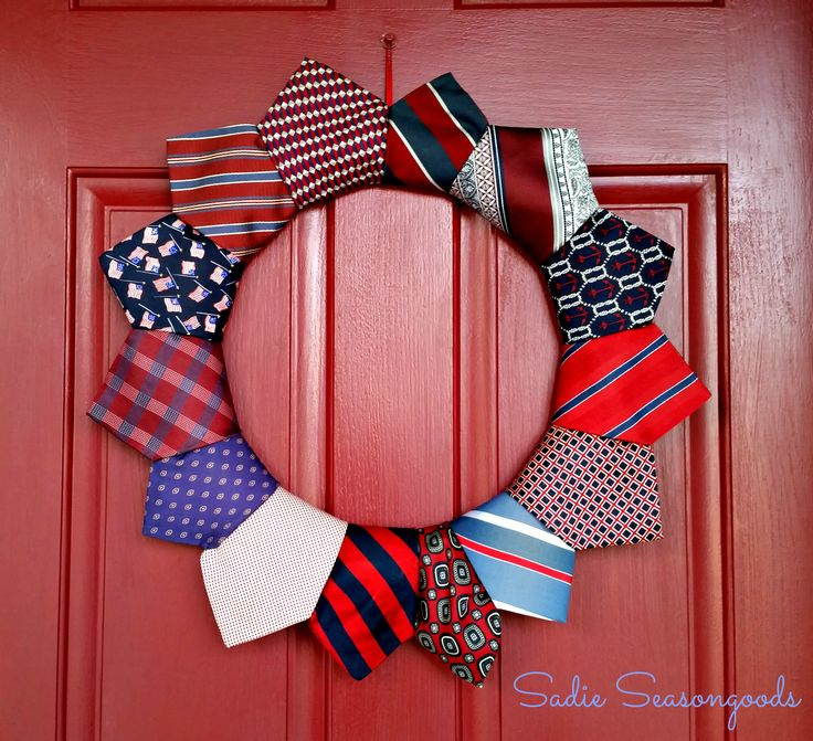 Thrifted neckties make FANTASTIC wreathes, perfect for any holiday. Silk, Polyester, Acetate...they all work- and these so easy to find at thrift stores. I can't wait to make one for Christmas! #sadieseasongoods