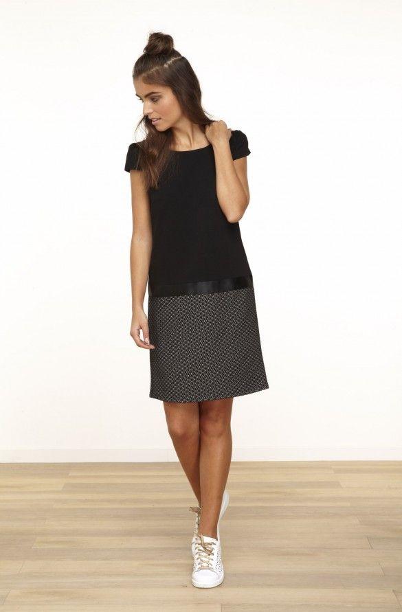 57aaa55bb08 Robe droite en maille bas jacquard et manches courtes noir blanc - robes  femme -