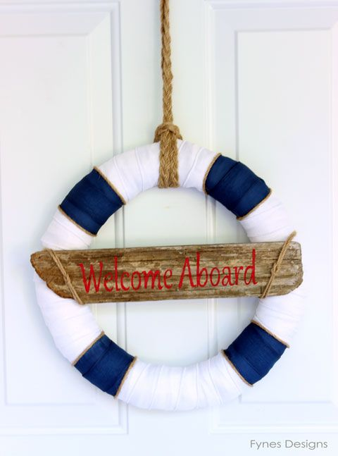 Nautical Decor- Wreath… this would be cute for a new baby arrival wreath just add the baby info