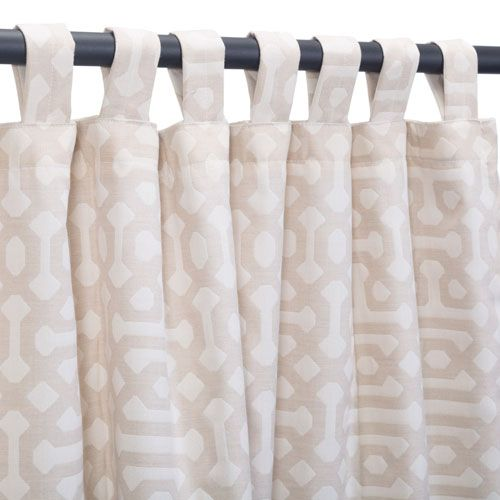 Sunbrella Curtain with Tabs Fretwork Flax