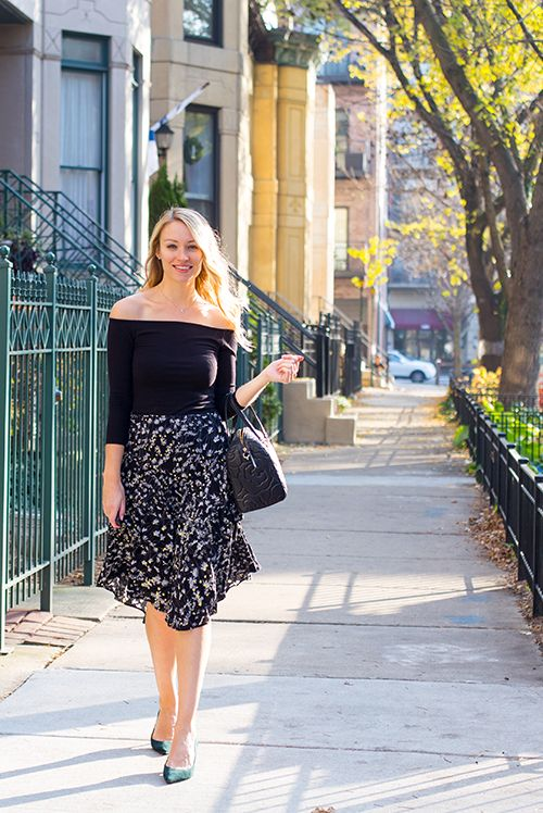 off the shoulder top outfit ruffle midi skirt classy outfit ladylike outfit