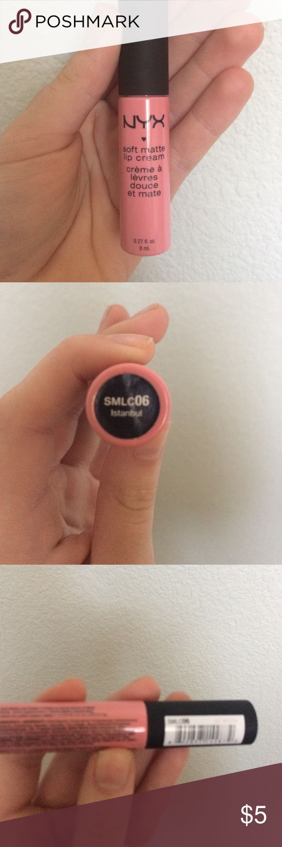 """Pretty Nyx Soft matte lip cream! Pretty pink matte lip cream """"Istanbul""""!! Used once but has been thoroughly sanitized!! Picture taken from Internet. NYX Makeup Lipstick"""