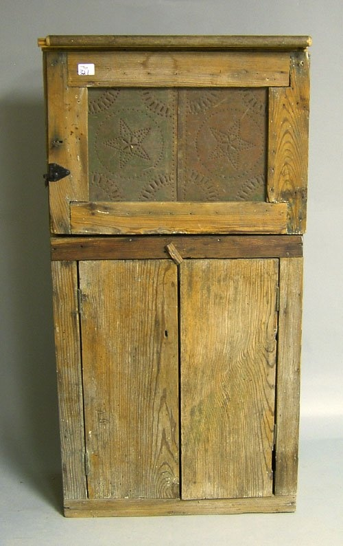 Primitive Yellow Pine Pie Safe...late 19th. c., with single front punched tin door panel.