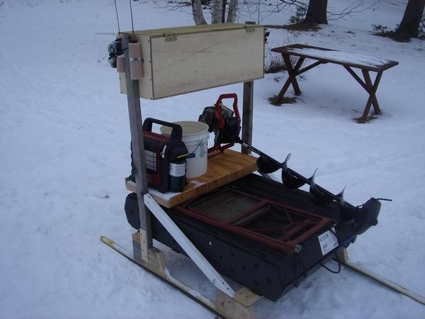 10 best images about dyi ice fishing toboggans and sleds for Ice fishing sled ideas