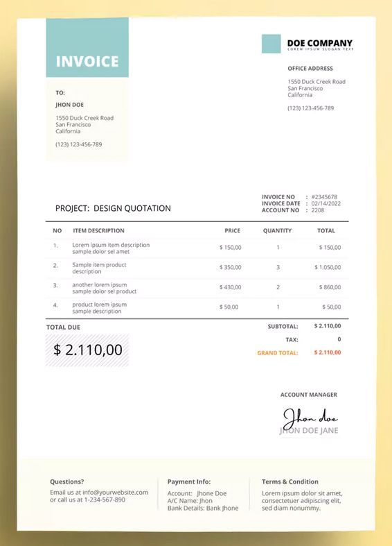Invoice Business With Teal Color Accent By Afahmy On Envato Elements Invoice Design Invoice Design Template Photography Invoice Template
