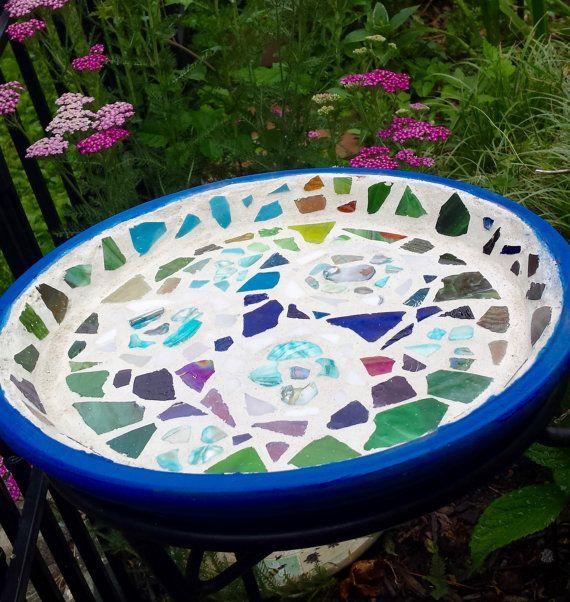 Cosmos Sea Glass Mosaic Birdbath by ABQuiltsandMore on Etsy