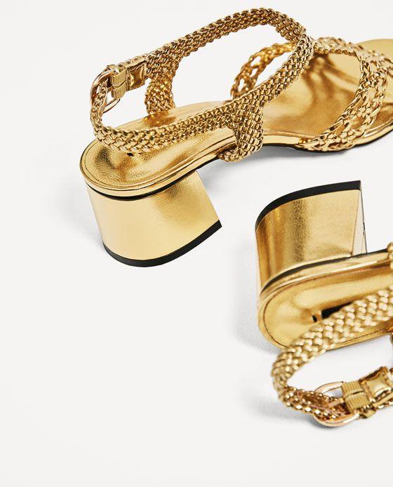 GOLDEN BRAIDED HIGH HEEL SANDALS| vegan shoes | vegan heels