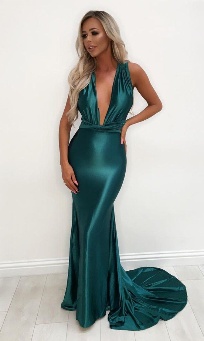 eeda5a0d48 Mermaid Madness Emerald Green Satin Sleeveless Plunge V Neck Backless Mermaid  Maxi Dress