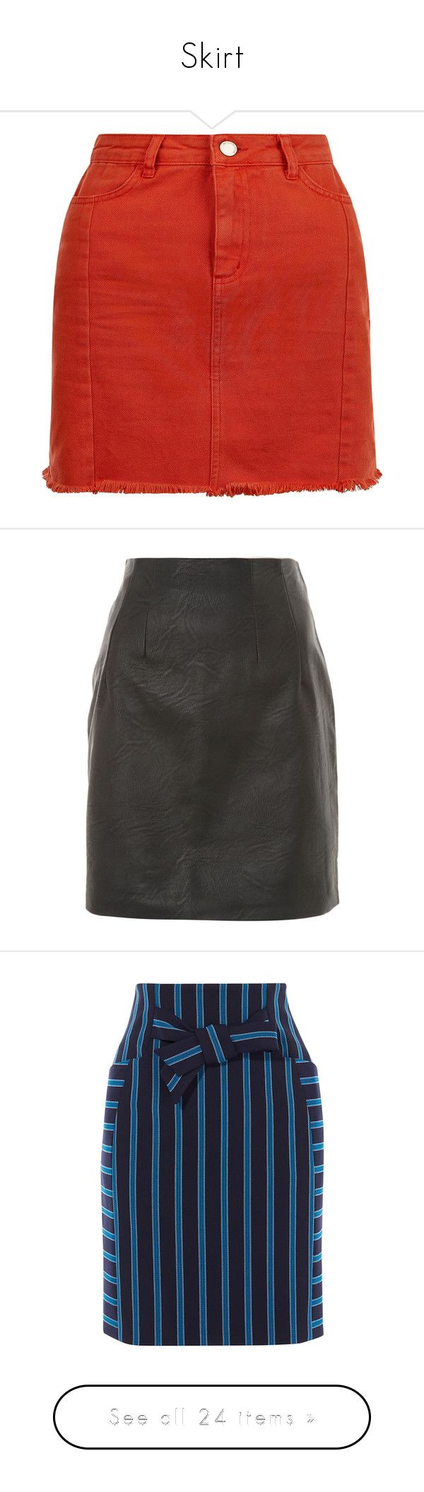 """Skirt"" by creamyourself ❤ liked on Polyvore featuring skirts, red denim skirt, red knee length skirt, denim skirt, knee length denim skirt, red skirt, black, topshop skirts, faux leather skirt and leather look skirt"