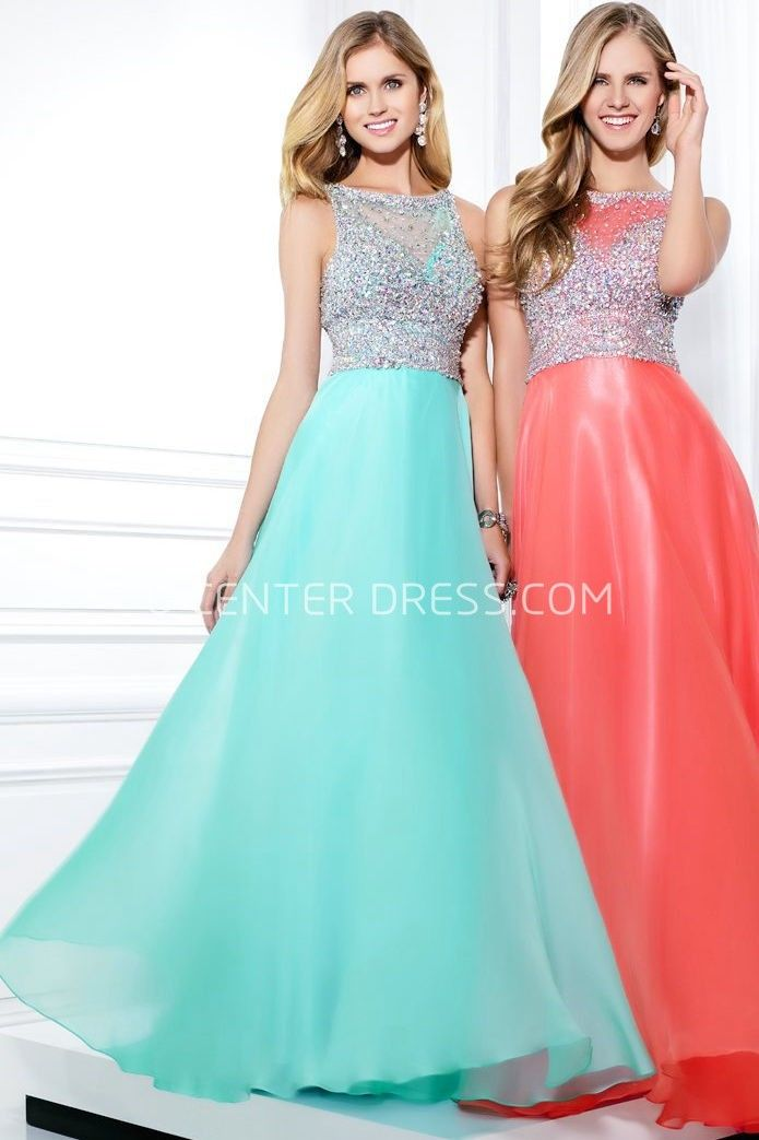 $132.09-Elegant Sleeveless Jewel Neck Beaded Chiffon Evening Gown With Illusion Back. http://www.ucenterdress.com/a-line-sleeveless-jewel-neck-beaded-chiffon-prom-dress-with-illusion-back-pMK_300345.html.  Shop for affordable evening gowns, prom dresses, white dresses, party dresses for women, little black dresses, long dresses, casual dresses, designer dresses, occasion dresses, formal gowns, cocktail dresses . We have great 2016 Evening Gowns on sale now. #evening #gowns