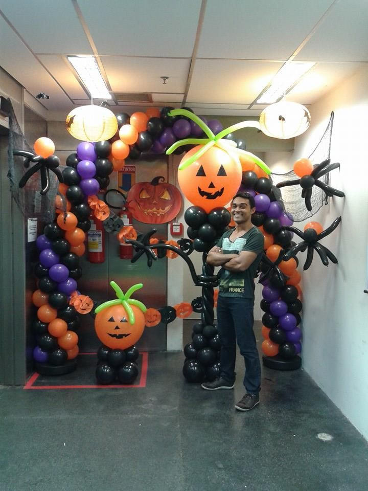 Halloween arch halloween arch halloween decor backyard for Balloon decoration for halloween