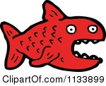 Cartoon Of A Red Piranha Fish Royalty Free Vector Clipart by lineartestpilot