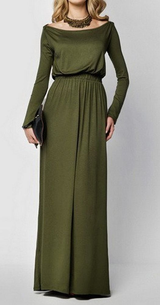 Women loose green evening prom party dress long maxi gown homecoming event chic