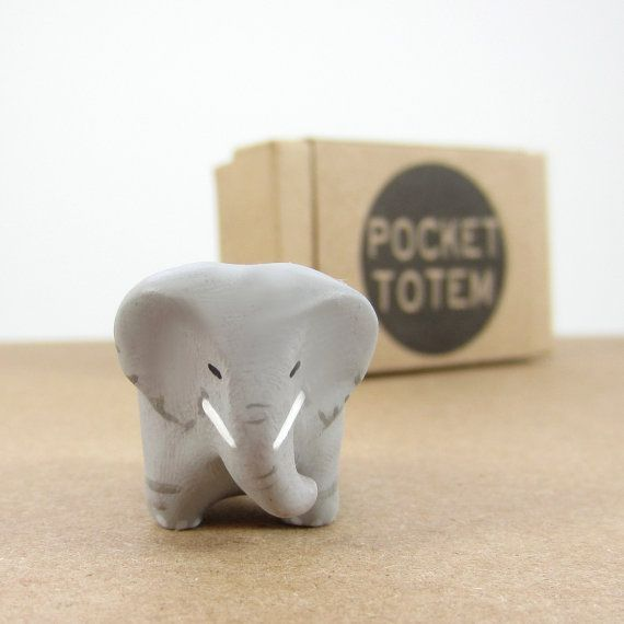 Elephant pocket totem figurine by HandyMaiden on Etsy