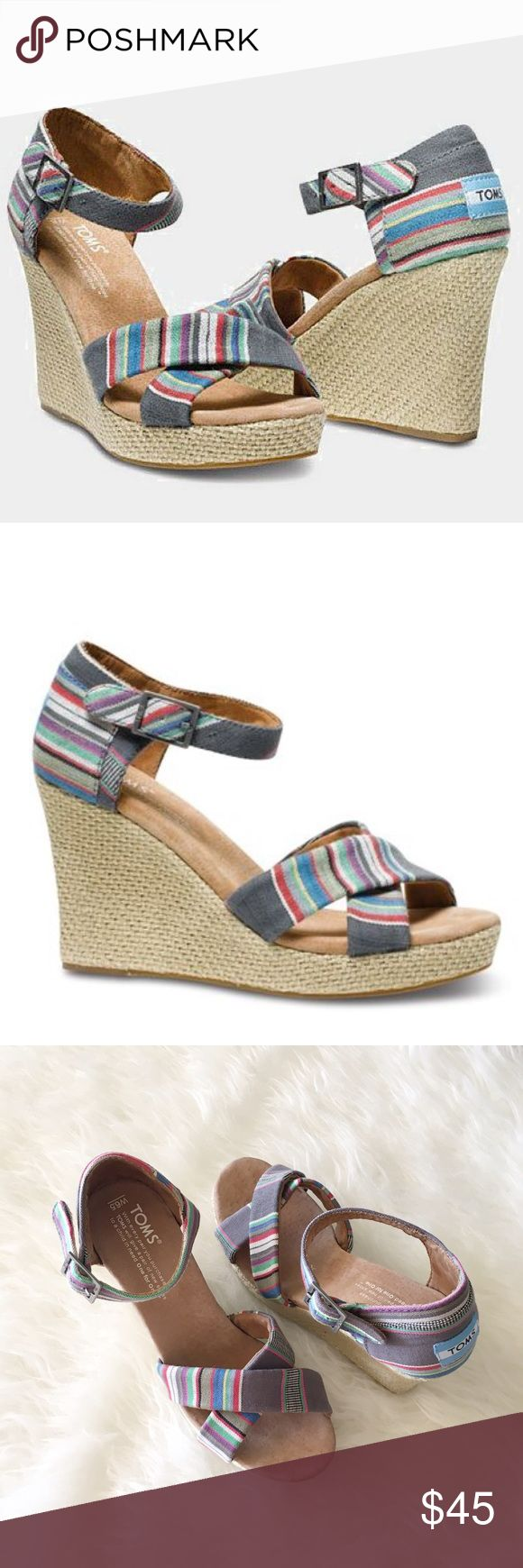 TOMS Denim Stripe strait wedges. Absolutely beautiful and in brand new condition. TOMS Denim striped wedges sandals. Size 6.5. Never worn. Very comfortable. TOMS Shoes Wedges