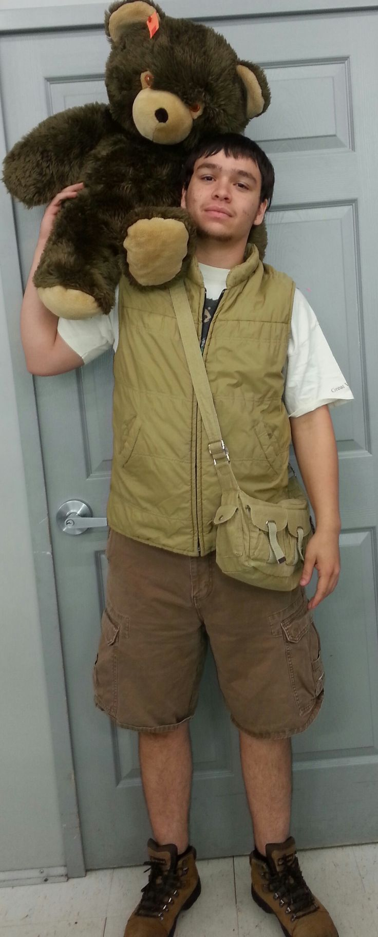 Zookeeper costume created from pieces found at Goodwill.