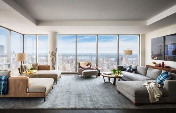 Apartment: Awesome Living Room Decor With Cool City Views Also Modern Furnishings Such As Grey Sectional Sofa Also Comfy Cream Daybed On Velvet Rugs: Awesome Apartment At New York City By Famous Home Designer