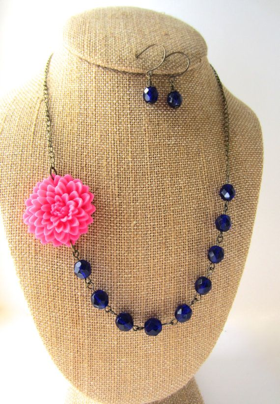 Hey, I found this really awesome Etsy listing at https://www.etsy.com/listing/186772914/pink-and-navy-blue-necklace-floral