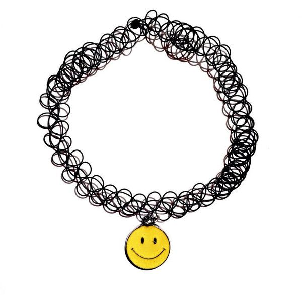 smiley face tattoo choker black double strand choker emoji vintage 90s... found on Polyvore featuring jewelry, necklaces, tattoo necklace, vintage jewelry, charm necklace, enamel charms and black necklace