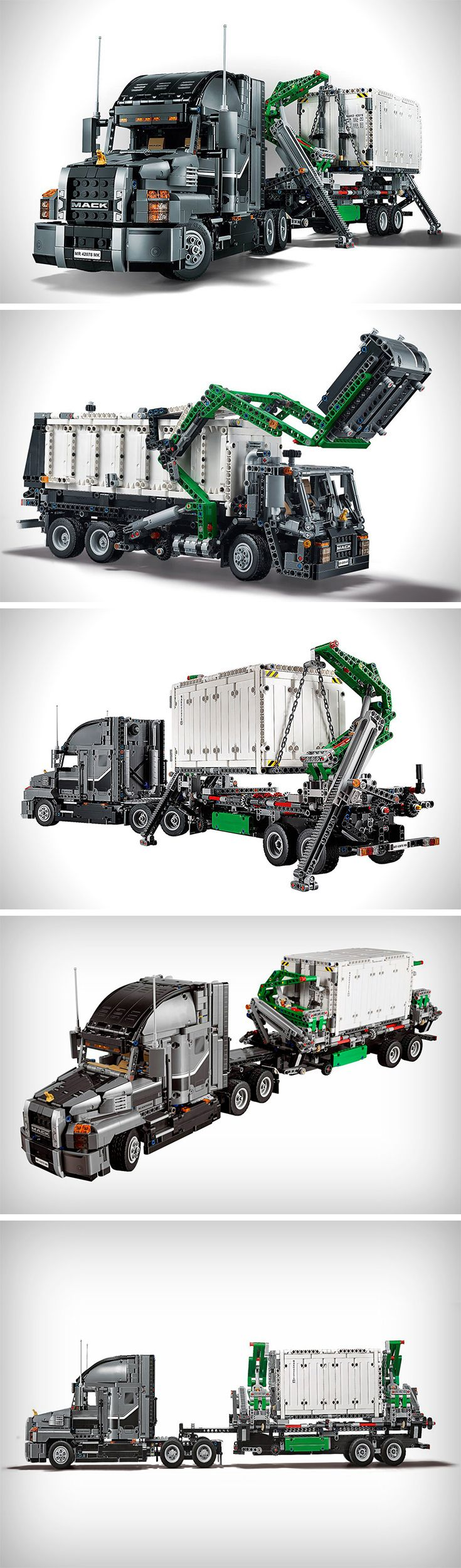 There are some remarkable models (mostly automotive) to be built that are without a doubt shelf-worthy once completed. With that, comes another addition recently announced in the form of the two-in-one Mack Truck Set. So what do I mean by two-in-one? Well, the original truck-and-trailer can be assembled, then disassembled and rearranged to form a Mack Dump Truck from the same pieces.