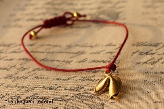 fortune cookie bracelet: Mothers Day, Statement Necklaces, Lucky Cookies, Simple Bracelets, Fortune Cookies, Charms Bracelets, Dark Red, Cookies Bracelets, Adjustable Bracelets