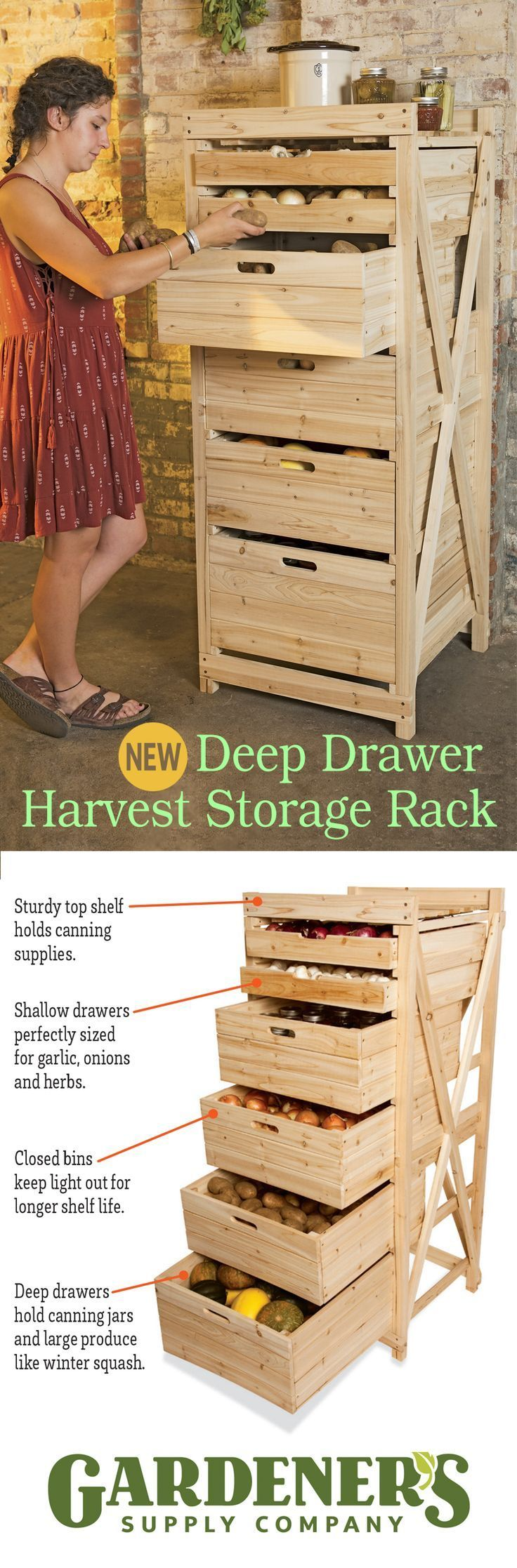 Deep Drawer Harvest Storage Rack. This spacious and space-saving rack holds a pantry's worth of produce. The deep drawers provide dark storage for potatoes and onions, as well as canning jars. Two sha