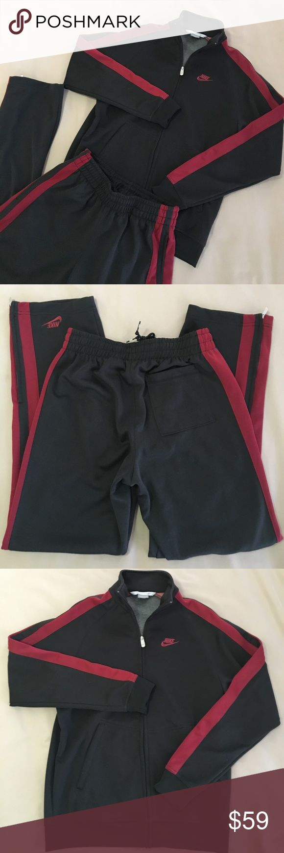 🚨NIKE MENS TRACK SUIT SET🚨 EUC. Black and maroon Nike track suit. 87/13 cotton/poly. Full zip jacket with pockets. Check out the great zippered-meshed slits on the pant cuffs! Thanks! 👣 Nike Pants Sweatpants & Joggers
