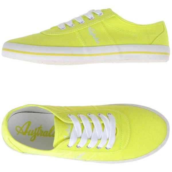 Australian Low-tops & Trainers ($42) ❤ liked on Polyvore featuring shoes, sneakers, yellow, fluorescent yellow shoes, neon sneakers, low profile sneakers, neon flat shoes and low profile shoes
