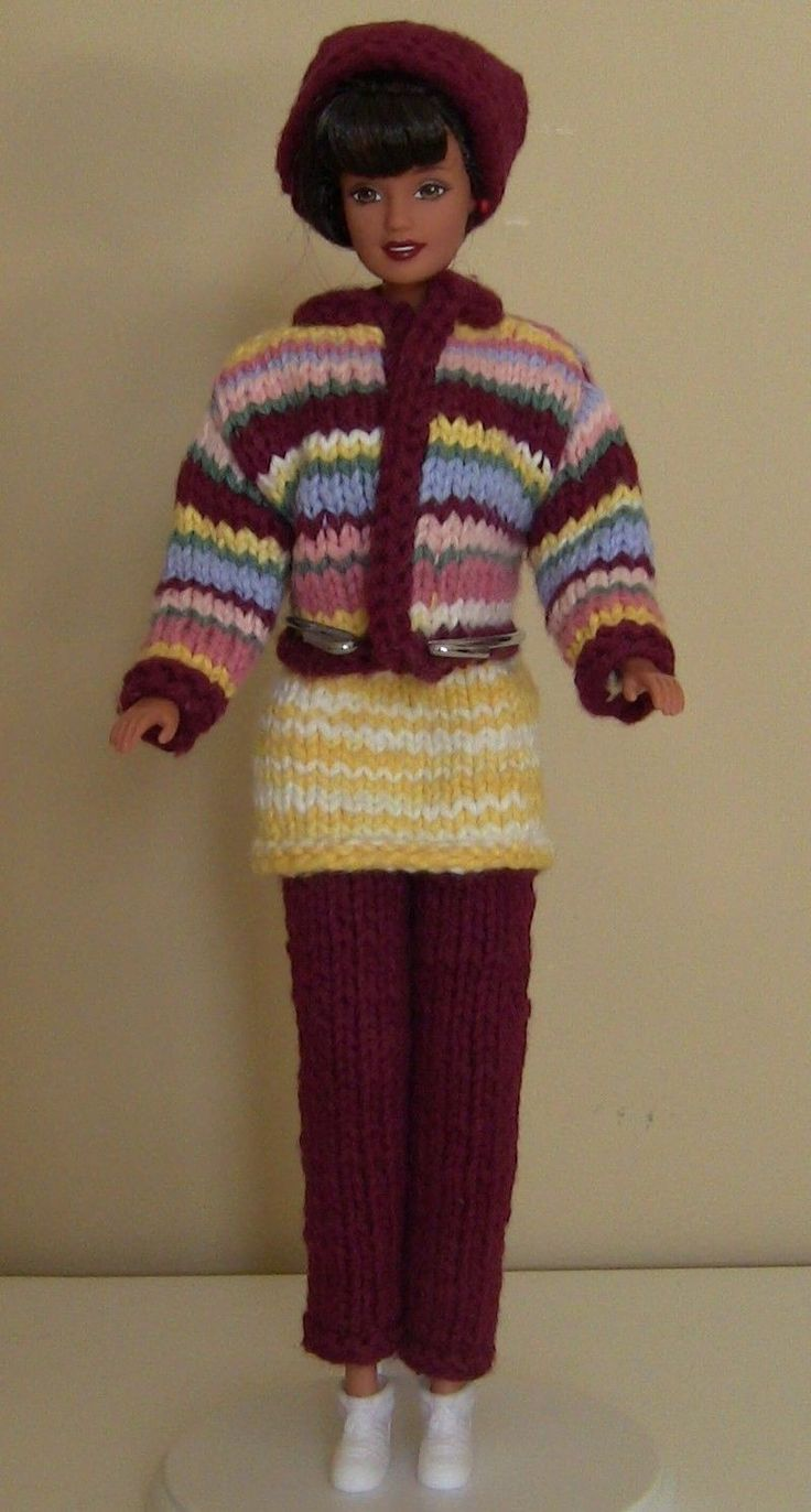Winter Fashion Doll Clothes Barbie Sweater Dress Leggings HAT Boots Striped 11 5 | eBay
