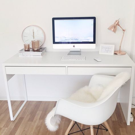 Blogger workplace, desk, workplace, IKEA, Eames style chair, iMac, Apple