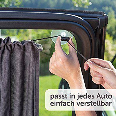 Sonnenschutz fürs Auto / Baby - mit Vorhang-Funktion für einfaches Auf- und Zuziehen   UV-Schutz - Hitzeschutz & zum Abdunkeln   XXL 68 x 50 cm - auch für große Seitenscheiben   Anthrazit / Schwarz
