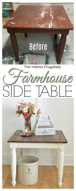 You never know what hidden gem could be hidden under layers of old paint. Here I share how I stripped and transformed an old painted table into a rustic Farmhouse Side Table with chalk paint and dark walnut stain. | The Interior Frugalista