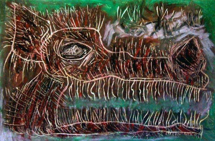 """""""Lupo cattivo"""" 2012 Tecnica mista su cartoncino 38x58 ©Pietro Gargano"""