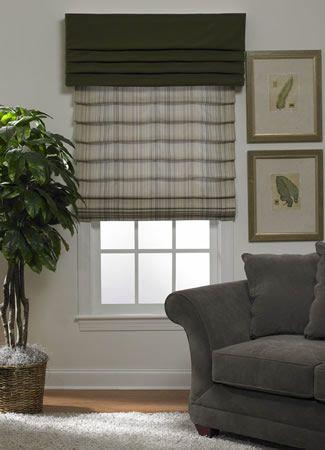 gray roman shades and dark gray top treatment roman. Black Bedroom Furniture Sets. Home Design Ideas