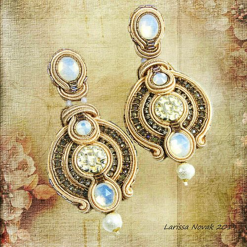 Long Soutache Earrings / Nostalgia, Vintage, Romantic