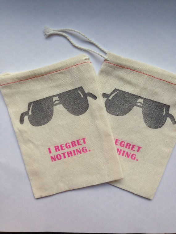 Bachelorette Hangover Kit Bags I Regret by PaperPeonyDesigns