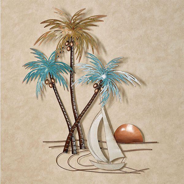 Sunset Paradise Tropical Palm Tree Metal Wall Art Palm Tree Metal Wall Art Metal Tree Wall Art Tropical Wall Art Palm tree metal wall art