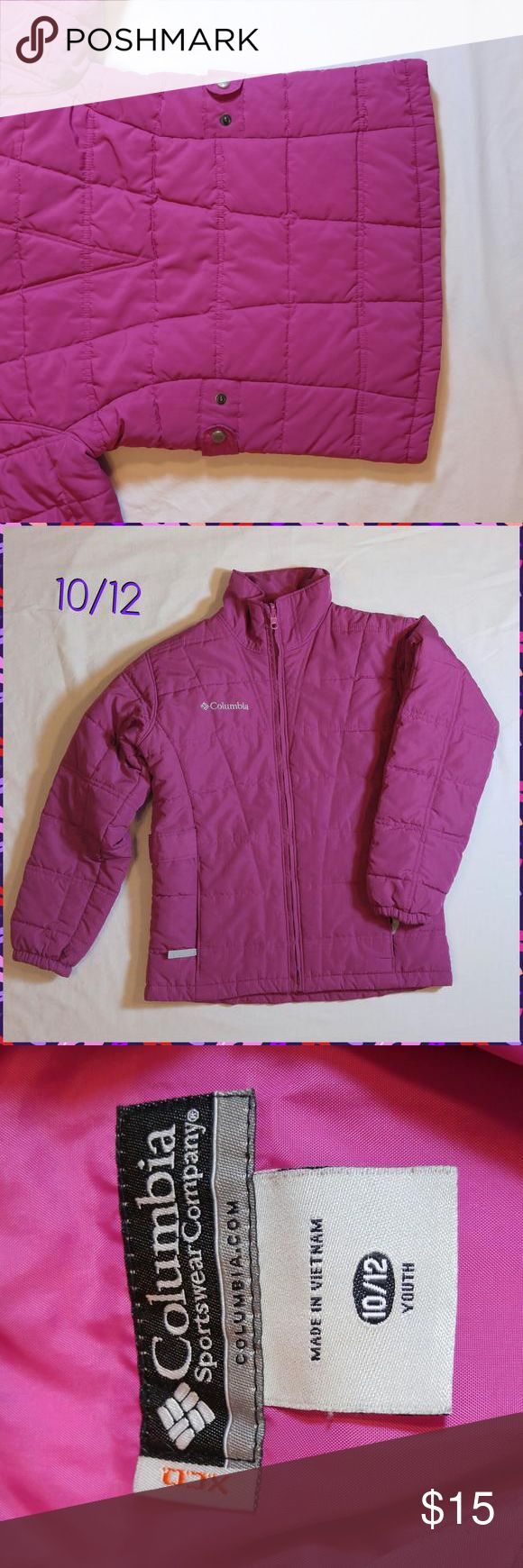Columbia jacket Quilted jacket in hot pink by Columbia.  Jacket is a medium weight but could winter, snaps on size to cinch for better fit, zipper front closure.  Sized 10/12, smoke free home, pet friendly. Columbia Dresses