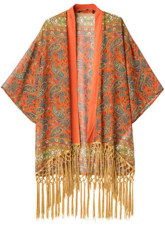Kimono suelto floral flecos-naranja 19.32