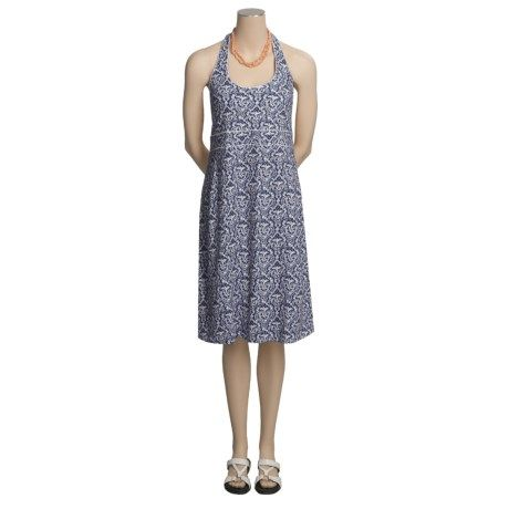 Own it: Aventura Clothing Check It Out Dress - Halter, Built-In Bra, Organic Cotton in Blue, sz L. Sierra Trading Post, 2/14/11, $17.